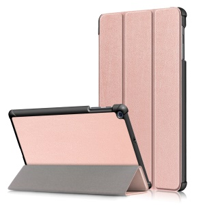 PU Leather Tri-fold Stand Tablet Case Cover for for Samsung Galaxy TAB A 10.1 2019 SM-T510/SM-T515 - Rose Gold