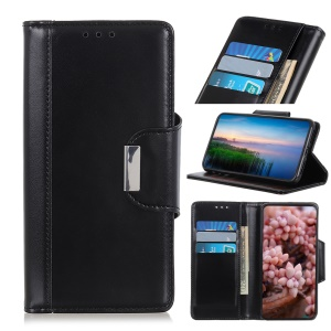 PU Leather Case, 3 Card Slots All Round Protection Leather Case for Samsung Galaxy A20e - Black