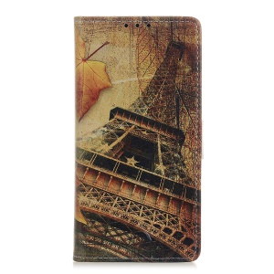 Pattern Printing Leather Wallet Case for Samsung Galaxy A20e - Maple Leaves and Eiffel Tower