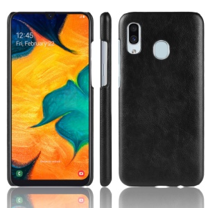 Litchi Skin Leather Coated Hard PC Case for Samsung Galaxy A20e - Black