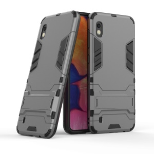 Cool Guard PC + TPU Hybrid Case with Kickstand for Samsung Galaxy A10 - Grey