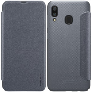NILLKIN Sparkle Series PU Leather Mobile Flip Case for Samsung Galaxy A30 / A20 - Grey