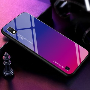 Gradient Color Glass + PC + TPU Hybrid Case for Samsung Galaxy A10 - Blue / Rose