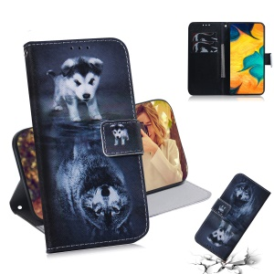 Patterned Leather Wallet Case for Samsung Galaxy A30/A20 - Dog and Reflection in Water