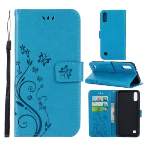 Imprint Butterfly Flower Leather Wallet Case for Samsung Galaxy A10 - Blue