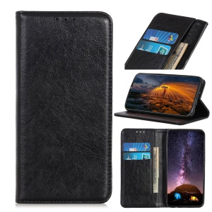 Auto-absorbed Crazy Horse Leather Wallet Stand Case for Samsung Galaxy A20/A30 - Black