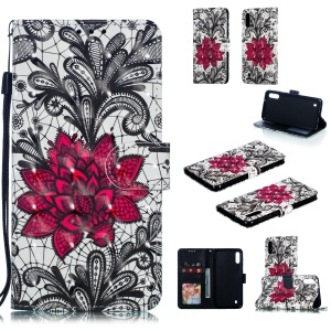 [Light Spot Decor] 3D Patterned Leather Stand Flip Cover for Samsung Galaxy A10 - Orlaya Grandiflora