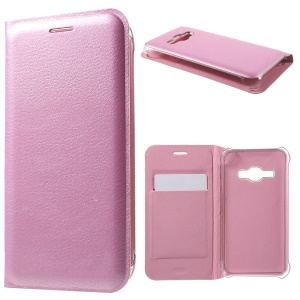 For Samsung Galaxy J1 (2016) Litchi Grain Leather Flip Phone Shell Cover   - Pink