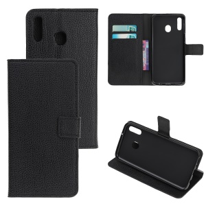 Litchi Texture Leather Protection Shell with Wallet Stand for Samsung Galaxy M30