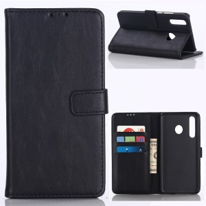 Crazy Horse Leather Wallet Protection Cover for Samsung Galaxy M30 / A40s - Black