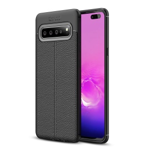 Litchi Grain Soft TPU Back Protection Cover for Samsung Galaxy S10 5G - Black