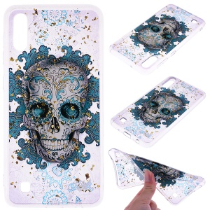 Glitter Sequins Inlaid Patterned TPU Phone Cover for Samsung Galaxy A10 - Skull