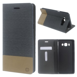 Assorted Color Linen Leather Case Cover for Samsung Galaxy J7 (2016) J710 - Dark Grey