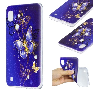 Cartoon Pattern Printing Soft TPU Cell Phone Case for Samsung Galaxy A10 - Blue Butterfly