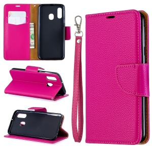 Litchi Skin PU Leather Stand Wallet Case for Samsung Galaxy A40 - Rose