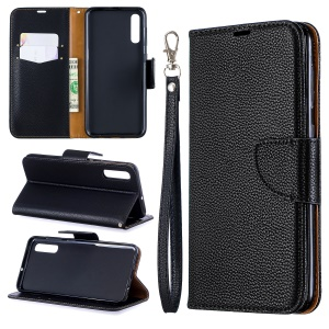 Litchi Skin PU Leather Stand Wallet Case for Samsung Galaxy A50 / A50s / A30s - Black