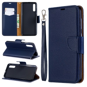 Litchi Skin PU Leather Stand Wallet Case for Samsung Galaxy A70 - Blue