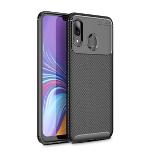 Drop Resistant Carbon Fiber TPU Phone Case Cover for Samsung Galaxy A40 - Black