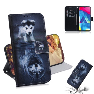 Patterned Leather Wallet Case for Samsung Galaxy M10 - Dog and Reflection in Water