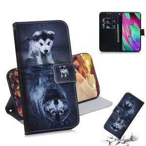 Patterned Leather Wallet Case for Samsung Galaxy A40 - Dog and Reflection in Water