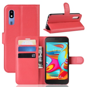 Litchi Skin PU Leather Magnetic Wallet Stand Case for Samsung Galaxy A2 Core - Red