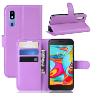 Litchi Skin PU Leather Magnetic Wallet Stand Case for Samsung Galaxy A2 Core - Purple