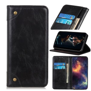 Crazy Horse Auto-absorbed Split Leather Wallet Shell for Samsung Galaxy A2 Core - Black