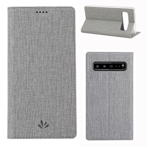 VILI DMX Cross Texture Stand Leather Card Holder Case for Samsung Galaxy S10 5G - Grey
