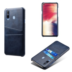Double Card Slots PU Leather Coated PC Case for Samsung Galaxy A60 - Dark Blue