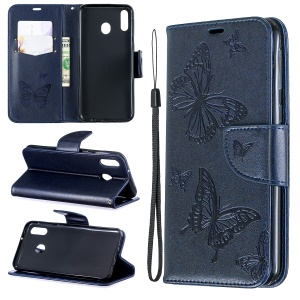 Imprint Butterfly Leather Wallet Phone Case Cover for Samsung Galaxy M20 - Blue
