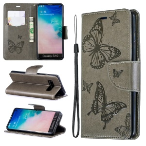 Imprint Butterfly Leather Wallet Phone Case for Samsung Galaxy S10 - Grey