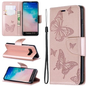 Imprint Butterfly Leather Wallet Phone Case for Samsung Galaxy S10 - Gold