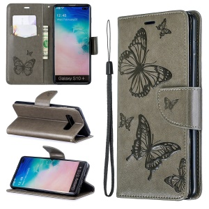 Imprint Butterfly Leather Cover Wallet Phone Case for Samsung Galaxy S10 Plus - Grey