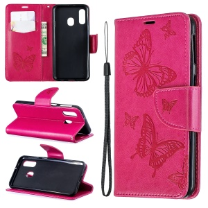 For Samsung Galaxy A40 PU Leather Imprint Butterflies Phone Case - Rose