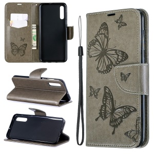For Samsung Galaxy A50 PU Leather Imprint Butterflies Phone Case - Grey
