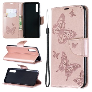 For Samsung Galaxy A50/A50s/A30s PU Leather Imprint Butterflies Phone Case - Pink