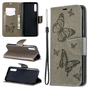 For Samsung Galaxy A70 PU Leather Imprint Butterflies Phone Case Butterflies Phone Case - Grey