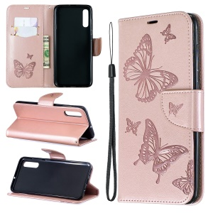 For Samsung Galaxy A70 PU Leather Imprint Butterflies Phone Case Butterflies Phone Case - Pink