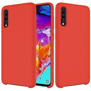 For Samsung Galaxy A70 Soft Liquid Silicone Back Protector Case Cover - Red