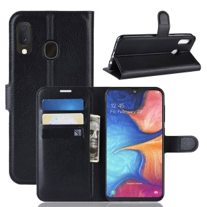 Litchi Texture Wallet Stand Leather Protective Phone Casing for Samsung Galaxy A20e - Black