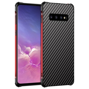 Electroplated Aluminum Alloy Bumper + Carbon Fiber PC Back Panel Slide-on Case for Samsung Galaxy S10 - Black / Red