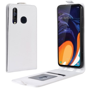 Crazy Horse Vertical Flip Leather Protective Case for Samsung Galaxy A60 - White