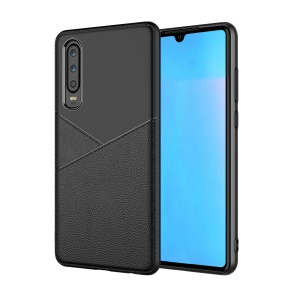 Litchi Texture Soft TPU Cell Phone Cover for Samsung Galaxy A70 - Black