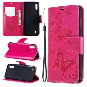 Imprint Butterfly Leather Wallet Case for Samsung Galaxy A10/M10 - Rose