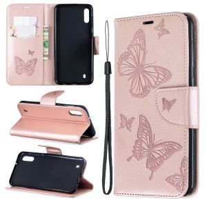 Imprint Butterfly Leather Wallet Case for Samsung Galaxy A10/M10 - Rose Gold