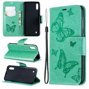 Imprint Butterfly Leather Wallet Case for Samsung Galaxy A10/M10 - Green