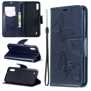 Imprint Butterfly Leather Wallet Case for Samsung Galaxy A10/M10 - Blue