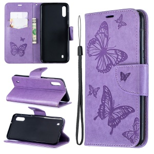 Imprint Butterfly Leather Wallet Case for Samsung Galaxy A10/M10 - Purple