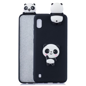 3D Pattern TPU Protective Case for Samsung Galaxy A10 - Black/Panda