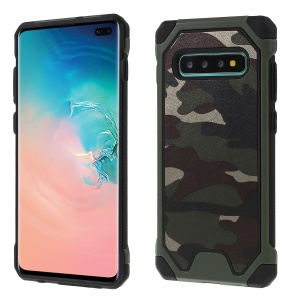 Camouflage Leather Coated PC TPU Combo Case for Samsung Galaxy S10 Plus - Army Green